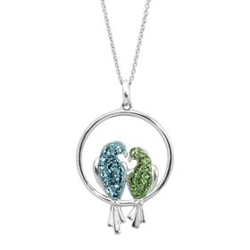 Love Birds Pendant with Swarovski Crystals