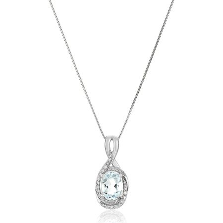 Aquamarine & 1/6 ct Diamond Pendant