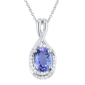 Tanzanite & 1/6 ct Diamond Oval Pendant