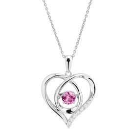 Pink Sapphire Floater Heart Pendant With Cubic Zirconia