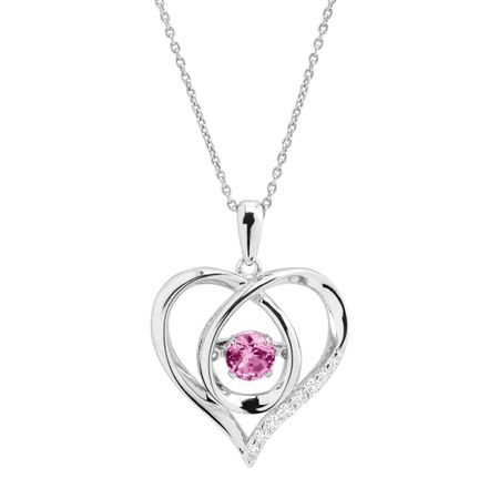 1/2 ct Pink Sapphire Floater Heart Pendant With Cubic Zirconia