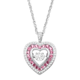 Pink & White Sapphire Floater Heart Pendant