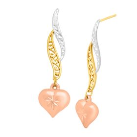 Heart Scroll Drop Earrings