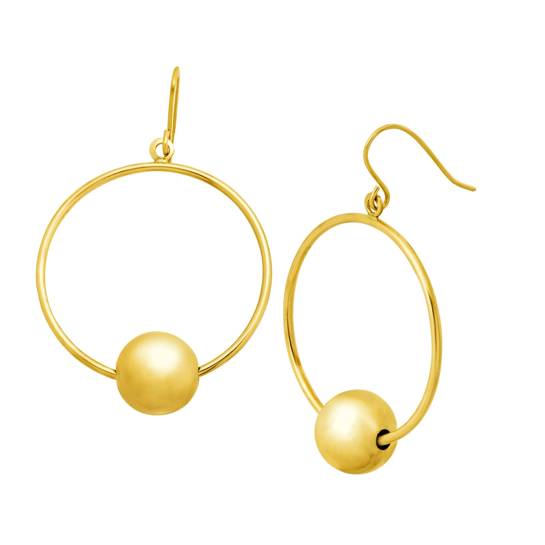 Circle Drop Earrings With Beads