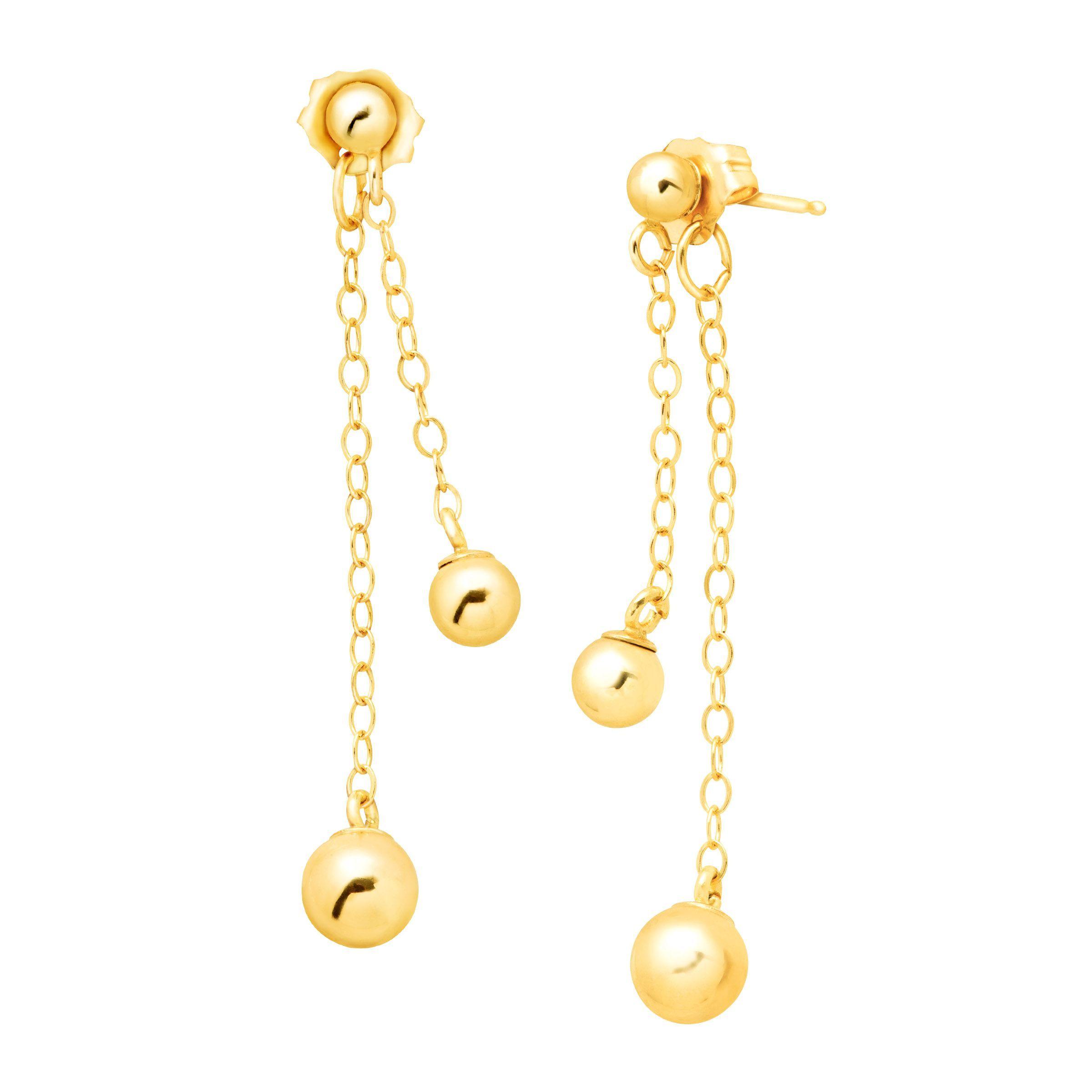 Eternity Gold Ball Drop Earrings In 10k