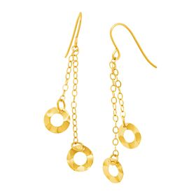Hammered Circle Chain Drop Earrings