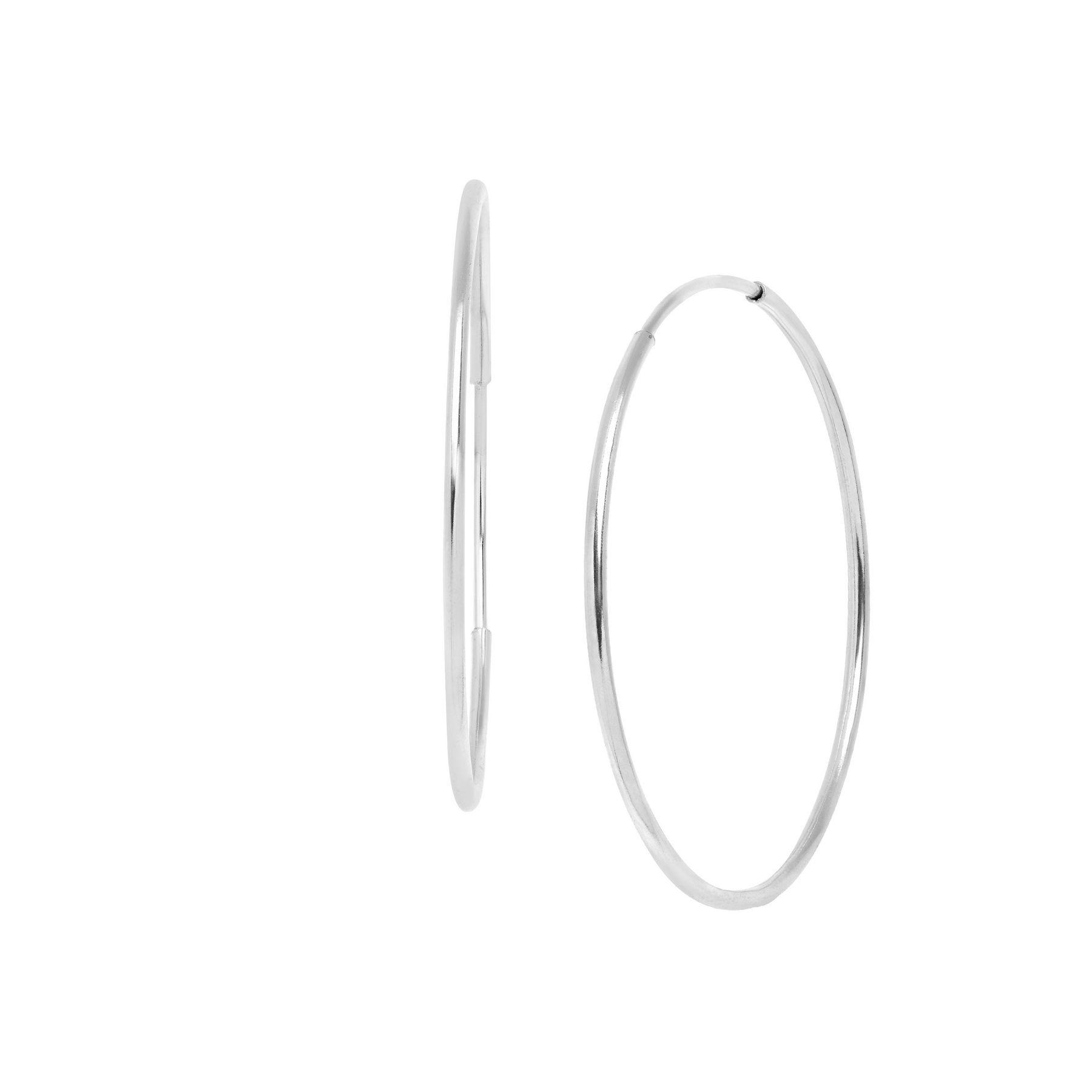 Eternity Gold Endless 14 Mm Hoop Earrings In 10k White