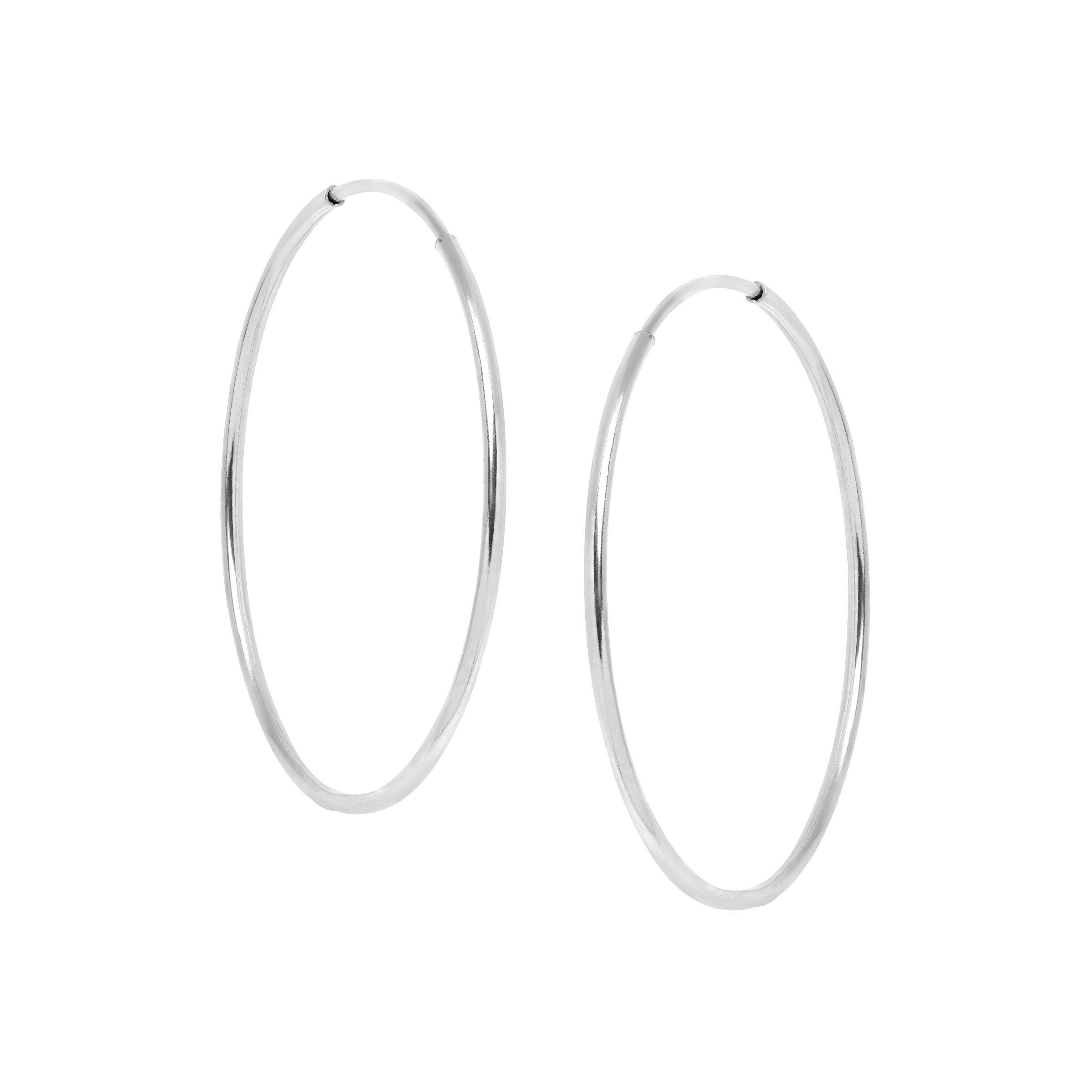 Details About Eternity Gold Endless 14 Mm Hoop Earrings In 10k White