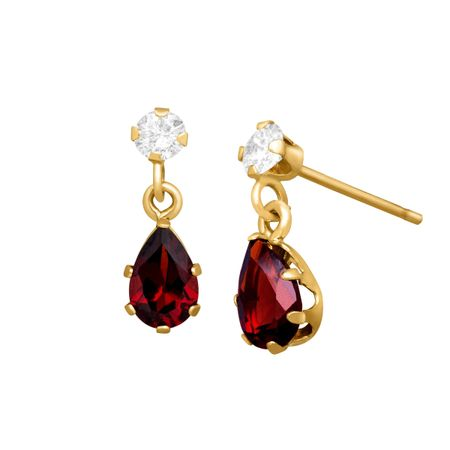 1 ct Garnet & White Topaz Drop Earrings