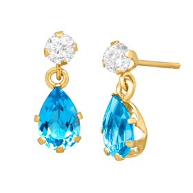 1 1/5 ct Swiss Blue & White Topaz Drop Earrings