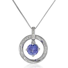 Tanzanite & 1/10 ct Diamond Floater Pendant