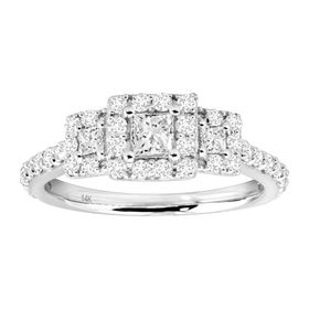 1 ct Princess-Cut Diamond 3-Stone Ring