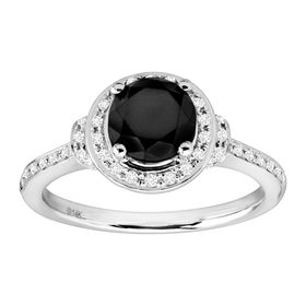 1 5/8 ct Black & White Diamond Ring