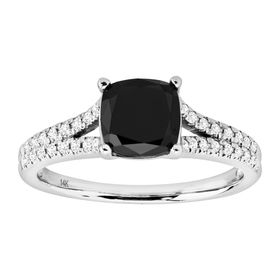 1 5/8 ct Black & White Diamond Cushion-Cut Ring