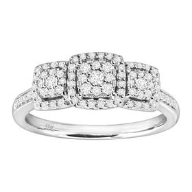 1/3 ct Diamond Square Halo Trio Engagement Ring, White