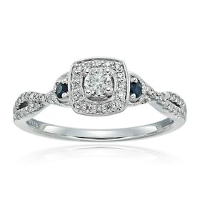1/4 ct Diamond & Blue Sapphire Engagement Ring