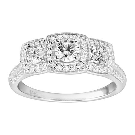 1 ct Diamond Square Halo Trio Engagement Ring