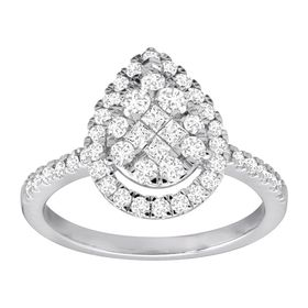 1 ct Diamond Pear-Shaped Engagement Ring