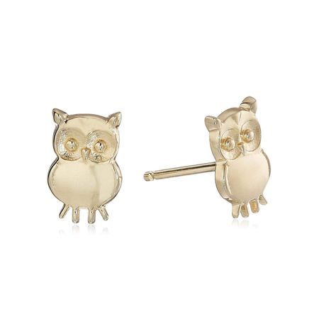 Eternity Gold Y Tiny Owl Stud Earrings In 10k