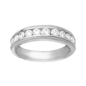 3/4 ct Diamond Milgrain Bead Band