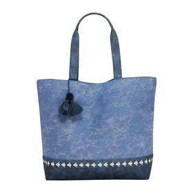 Navy Tassel Beach Bag