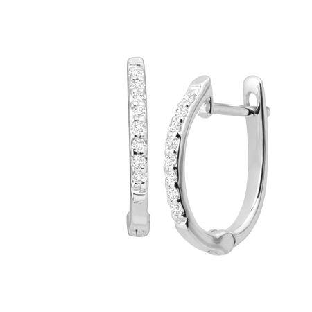 Huggie Hoop Earrings With Diamonds In 14k White Gold