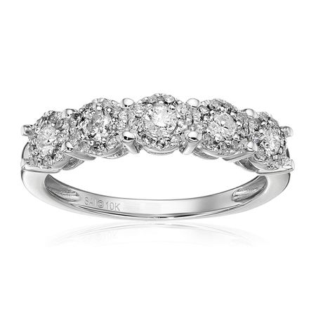 1/2 ct Diamond Five Halo Anniversary Ring