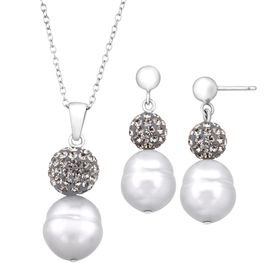 Grey Pearl Pendant & Earring Set with Swarovski Crystals