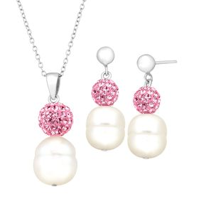 Pearl Pendant & Earring Set with Pink Swarovski Crystals