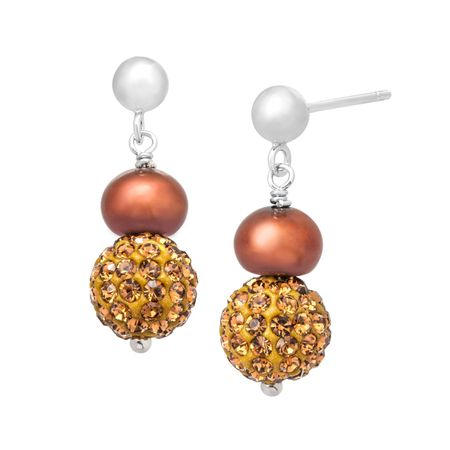 Pearl Drop Earrings with Swarovski Crystals