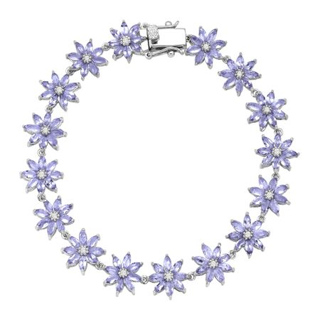 8 ct Tanzanite & White Topaz Flower Bracelet