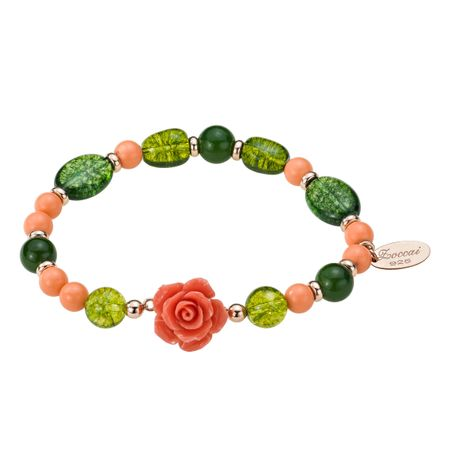 Pink Coral & Green Quartz Rose Bracelet