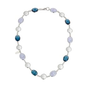 Agate & London Blue Topaz Necklace