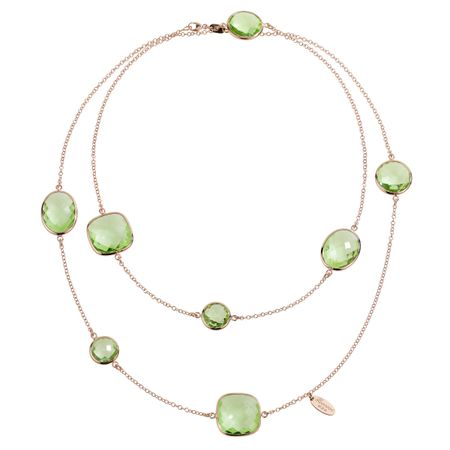 Green Amethyst Station Necklace
