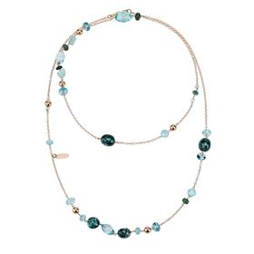 Blue Quartz Gemstone Long Necklace