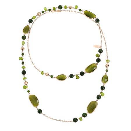 Green Agate Gemstone Long Necklace