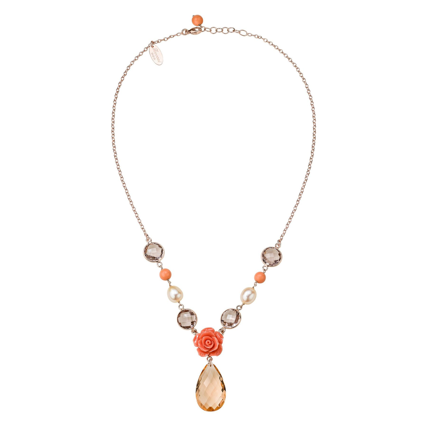 statement res orange pink rickis hi necklace rhodium