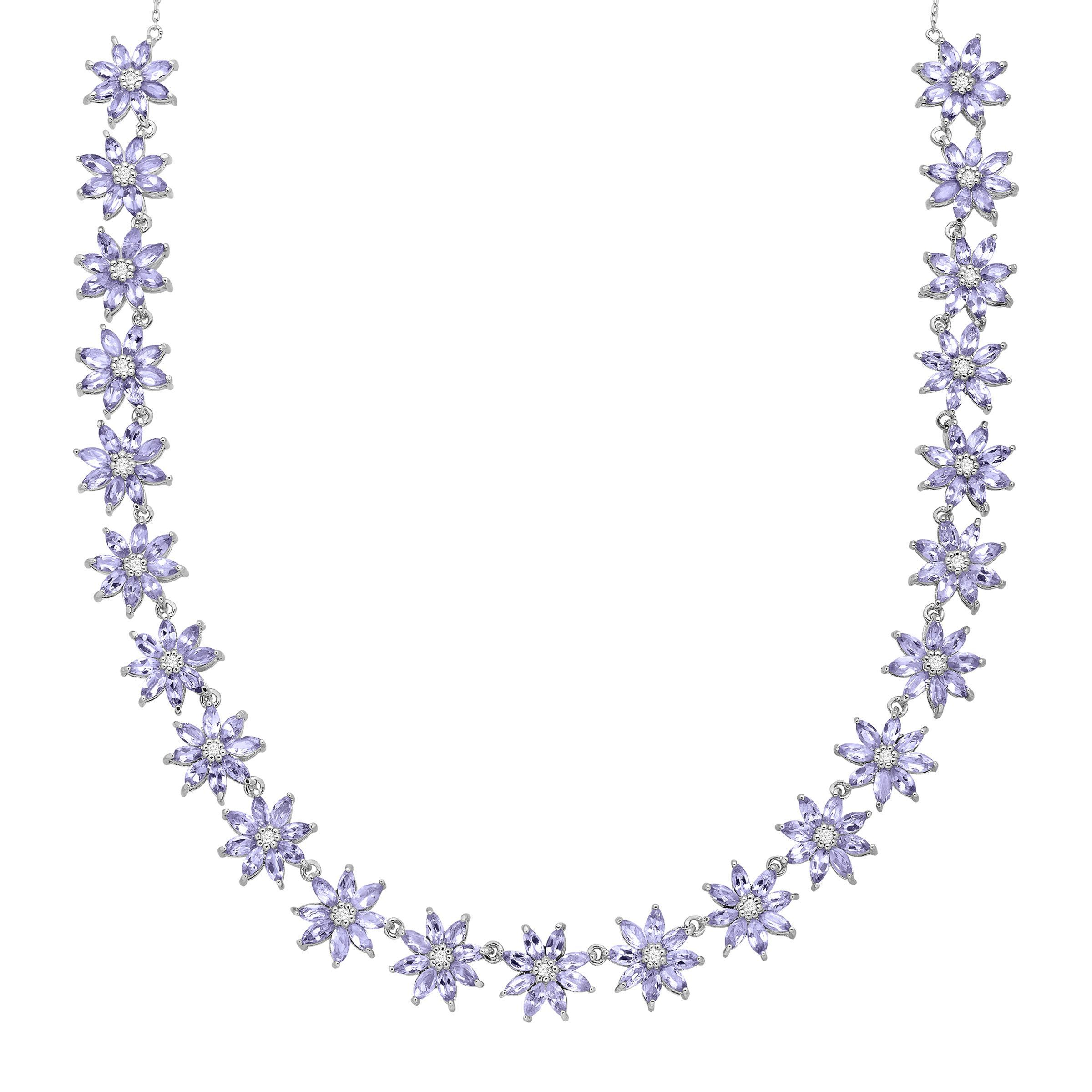 diamond pendant and tanzanite overview necklace