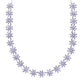 11 ct Tanzanite & White Topaz Floral Necklace