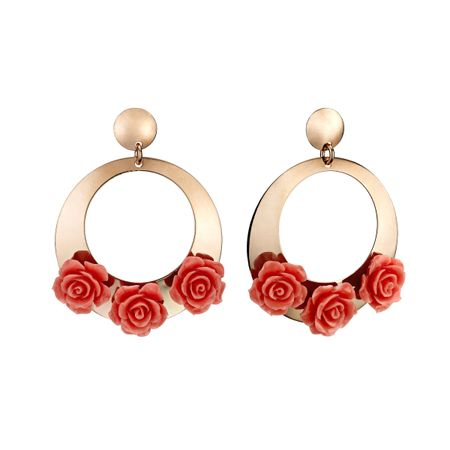 Pink Coral Rose Hoop Earrings