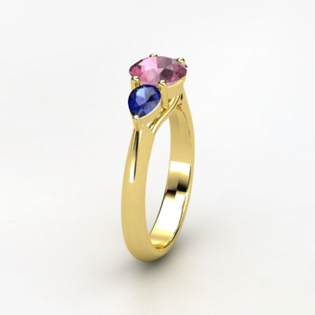 Triad Ring - Round Pink Tourmaline 14K Yellow Gold Ring with Blue Sapphire