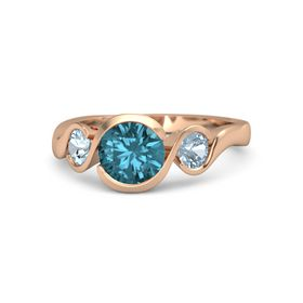 Round London Blue Topaz 14K Rose Gold Ring with Aquamarine