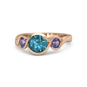 Round London Blue Topaz 14K Rose Gold Ring with Iolite