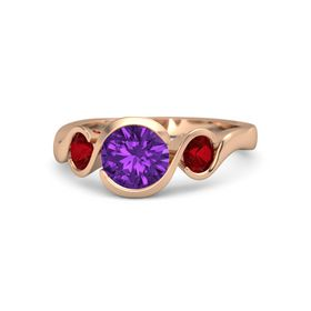 Round Amethyst 14K Rose Gold Ring with Ruby