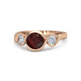 Round Red Garnet 14K Rose Gold Ring with Moissanite