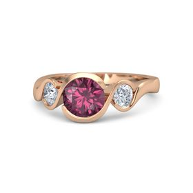 Round Rhodolite Garnet 14K Rose Gold Ring with Moissanite