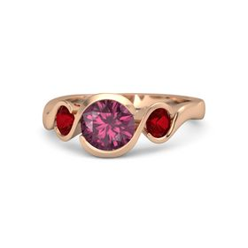 Round Rhodolite Garnet 14K Rose Gold Ring with Ruby