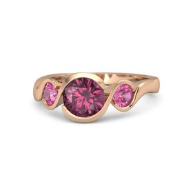 Round Rhodolite Garnet 14K Rose Gold Ring with Pink Tourmaline