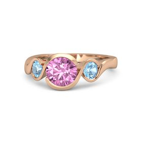 Round Pink Sapphire 14K Rose Gold Ring with Blue Topaz