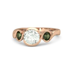 Round Green Amethyst 14K Rose Gold Ring with Green Tourmaline